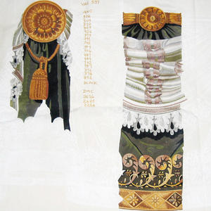 """Embroidered drapery in """"trompe-l'oeil"""" style"""